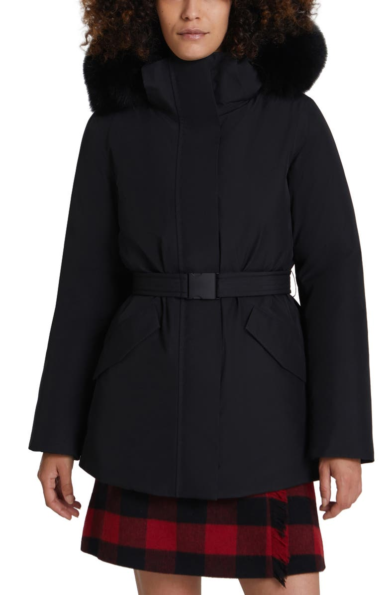 WOOLRICH Holly Arctic Down Waterproof Parka with Genuine Fox Fur Trim, Main, color, Black