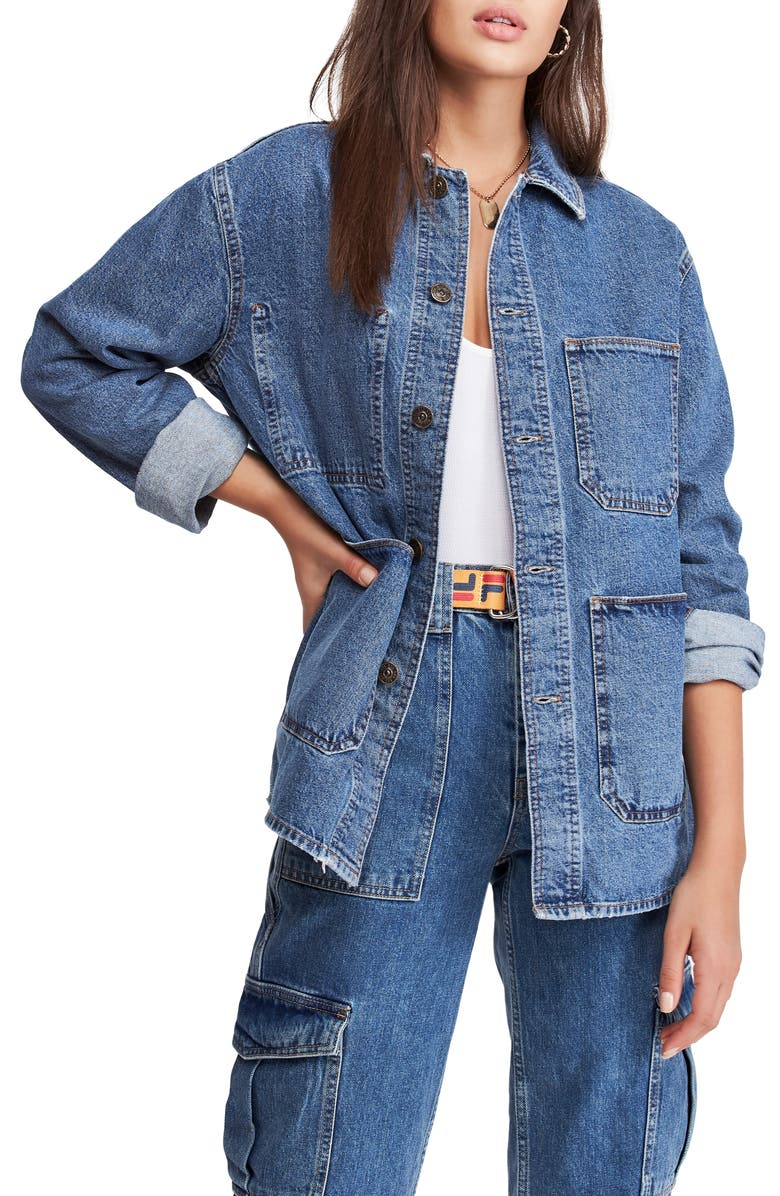BDG URBAN OUTFITTERS Longline Denim Jacket, Main, color, 400