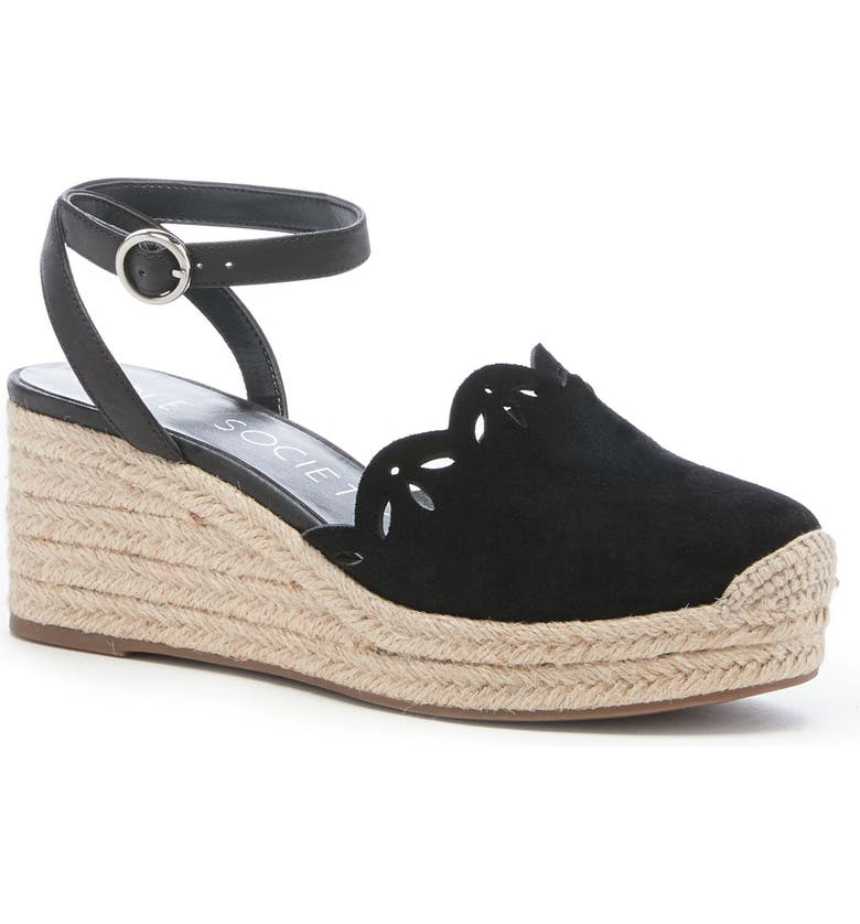 SOLE SOCIETY Calysa Ankle Strap Espadrille Wedge, Main, color, BLACK SUEDE