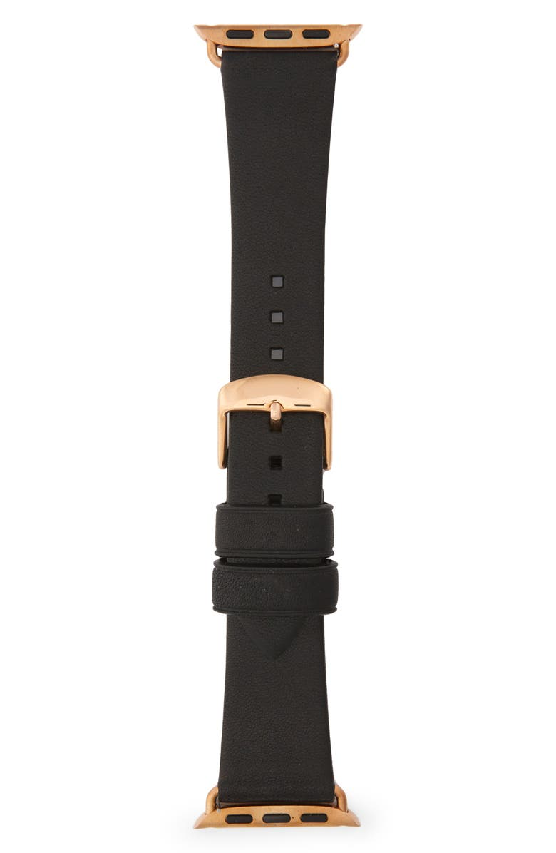 NOMAD Modern Slime Leather Strap for Apple Watch<sup>®</sup>, 38mm/40mm, Main, color, GOLD/ BLACK