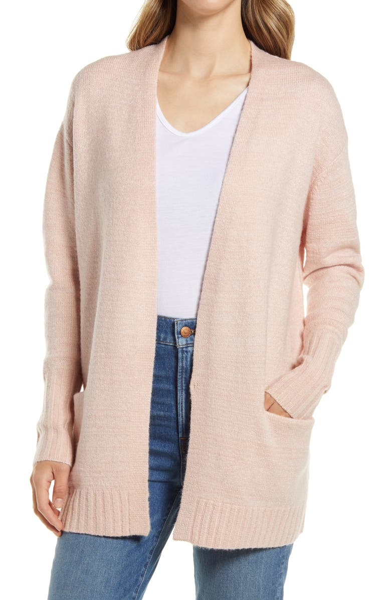 CASLON<SUP>®</SUP> Open Front Cardigan, Main, color, PINK SMOKE