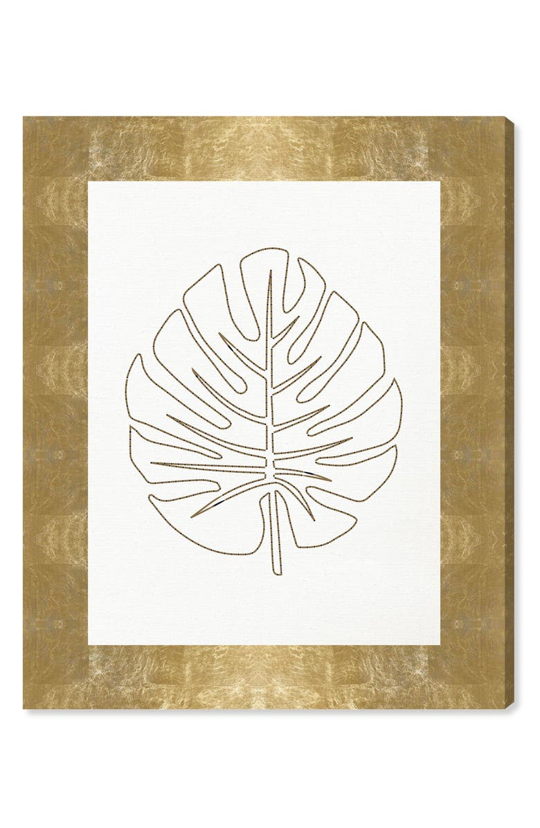 OLIVER GAL Stitched Palm Leaf I Canvas Wall Art, Main, color, WHITE