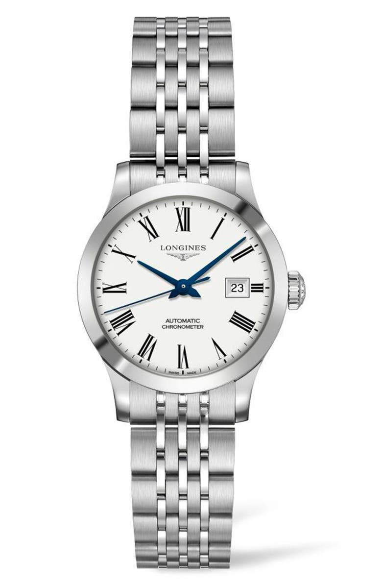 LONGINES Record Automatic Bracelet Watch, 30mm, Main, color, SILVER/ WHITE/ SILVER