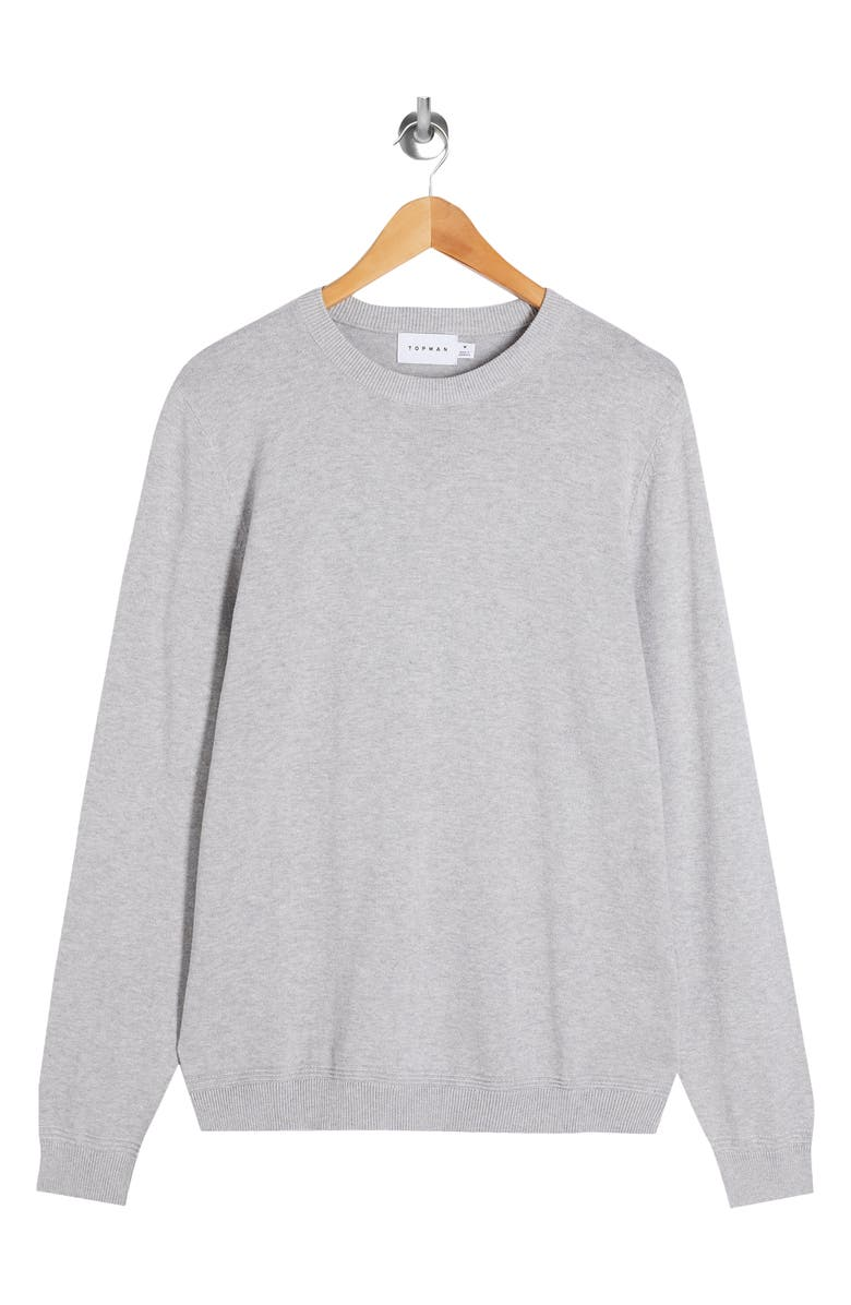 TOPMAN Essential Twist Crewneck Sweater, Main, color, Grey