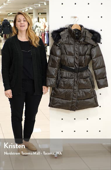 Belted Faux Fur Detail Hooded Puffer Coat, sales video thumbnail