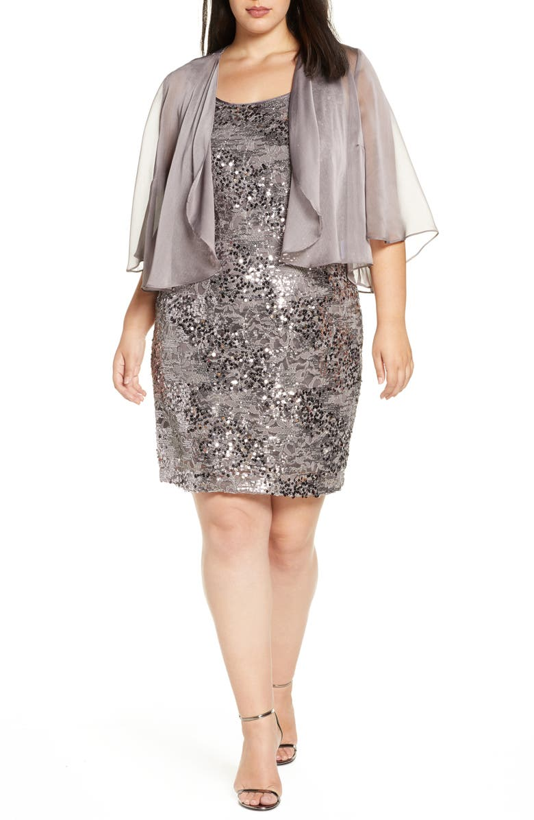 Alex Evenings Sequin Dress with Sheer Jacket (Plus Size)  Nordstrom