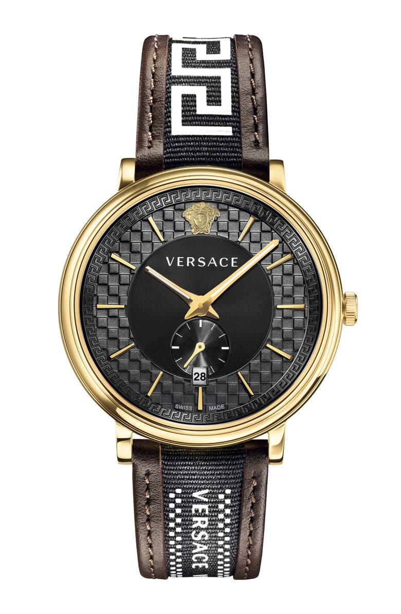 VERSACE V Circle Greca Leather Strap Watch, 42mm, Main, color, 200