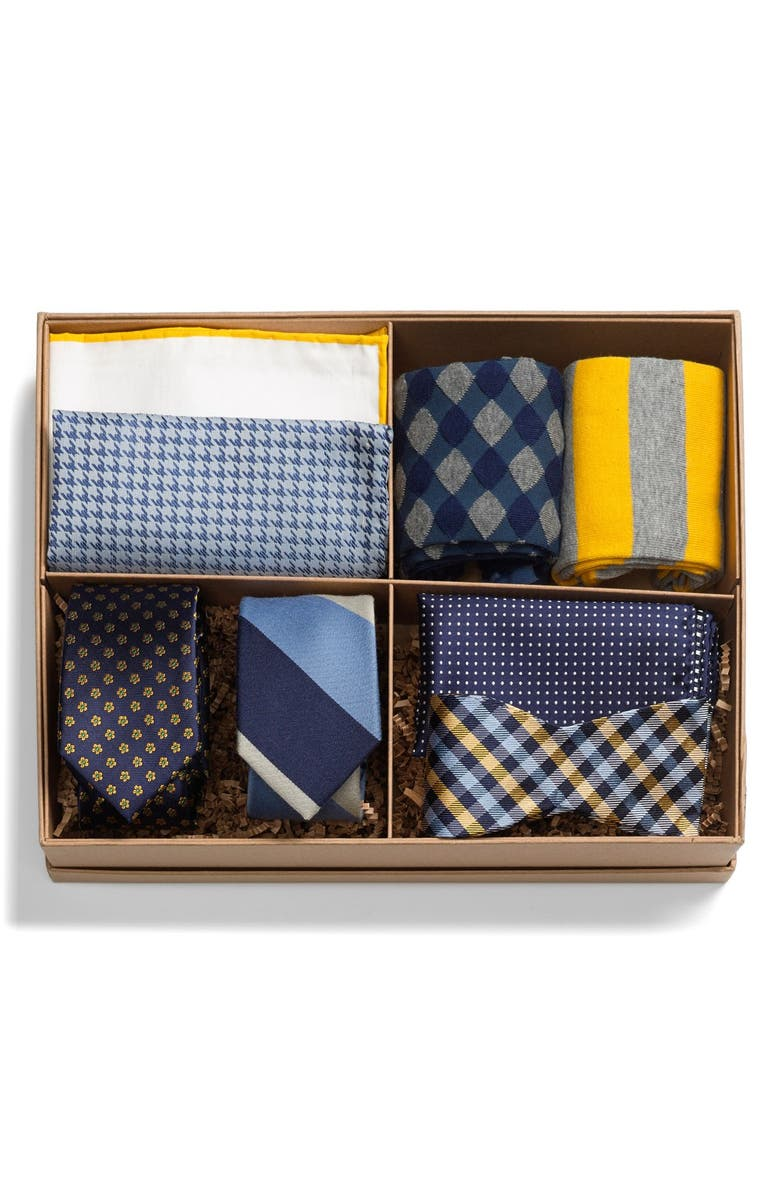 THE TIE BAR Large Style Box, Main, color, BLUE/ GOLD