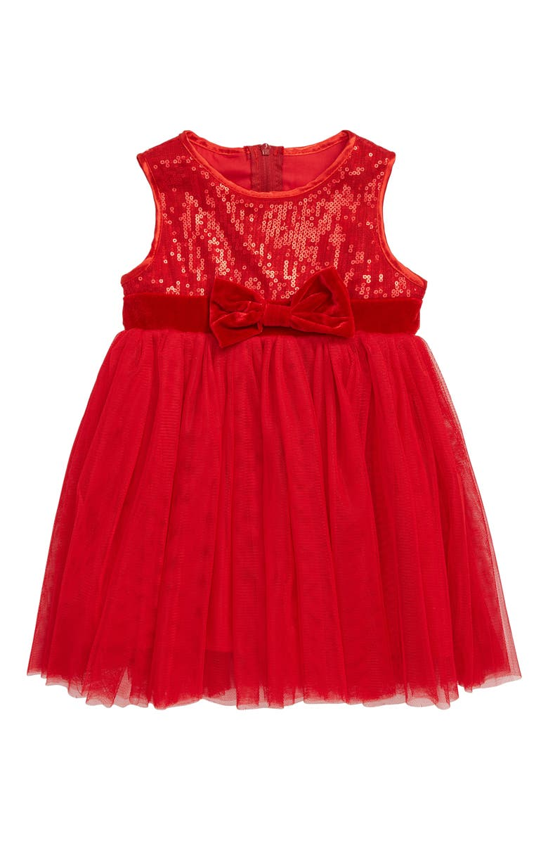 POPATU Sequin Sleeveless Tulle Dress, Main, color, RED