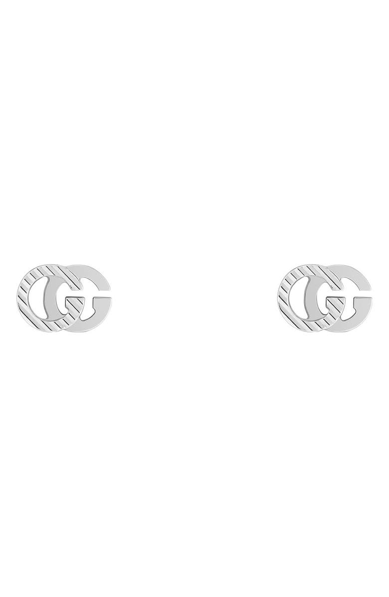 GUCCI Running G 18K Gold Stud Earrings, Main, color, WHITE GOLD