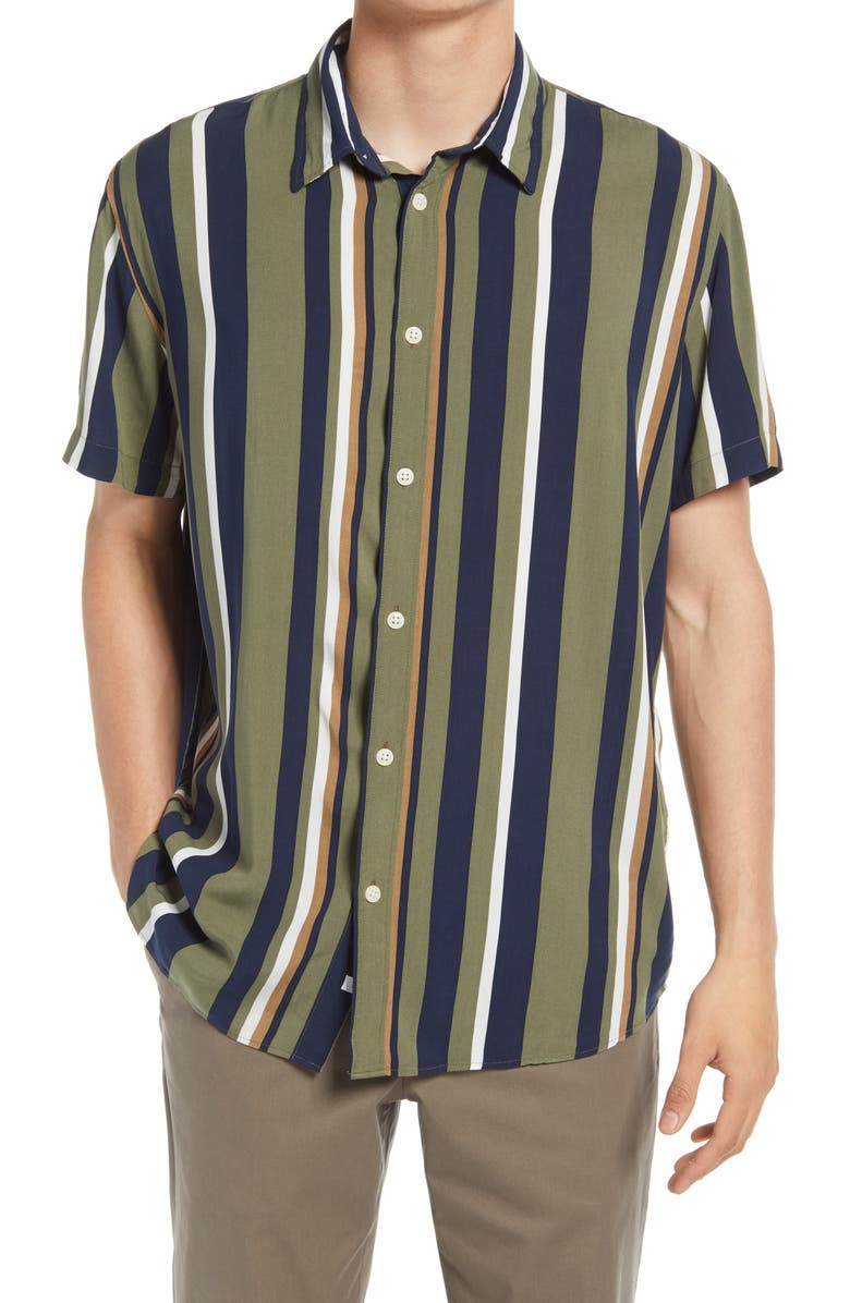 SELECTED HOMME Michael Regular Fit Stripe Short Sleeve Button-Up Shirt, Main, color, ALOE