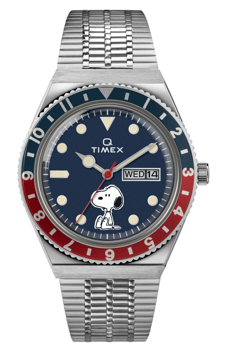 TIMEX<SUP>®</SUP> x Peanuts Snoopy Bracelet Watch, 38mm, Main, color, SILVER