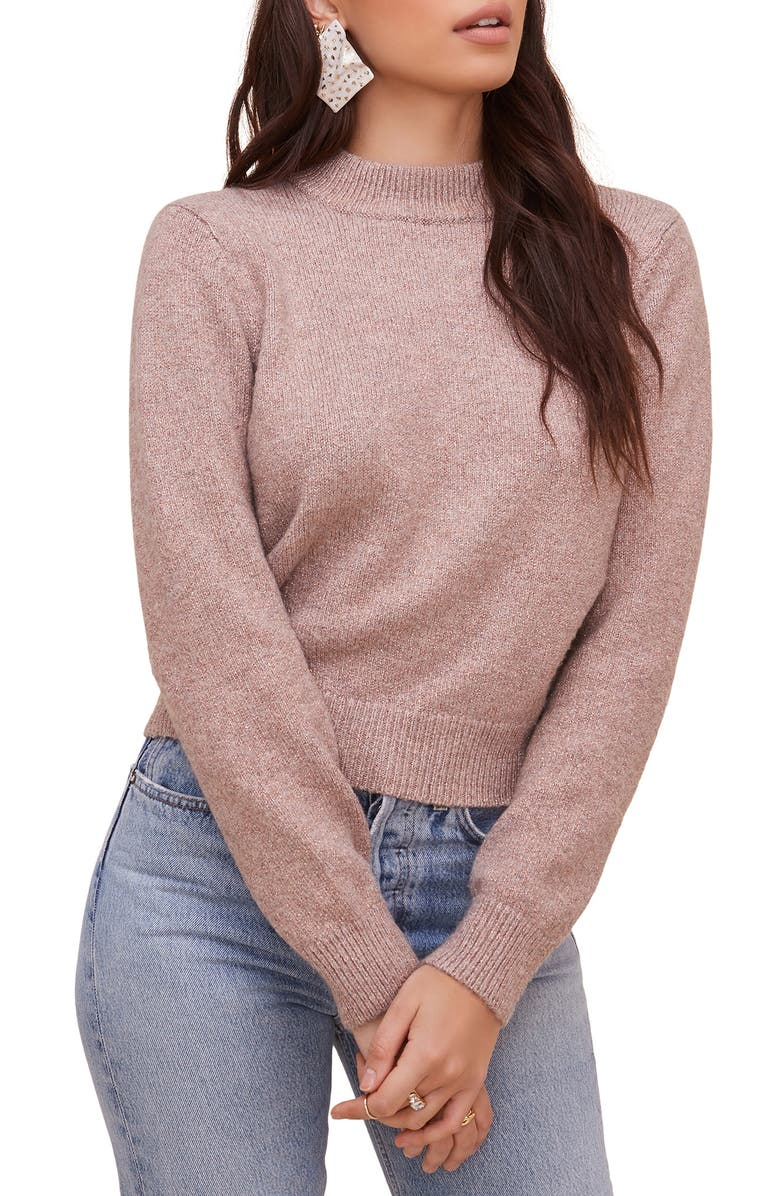ASTR THE LABEL Cutout Back Sweater, Main, color, TAUPE-PINK METALLIC