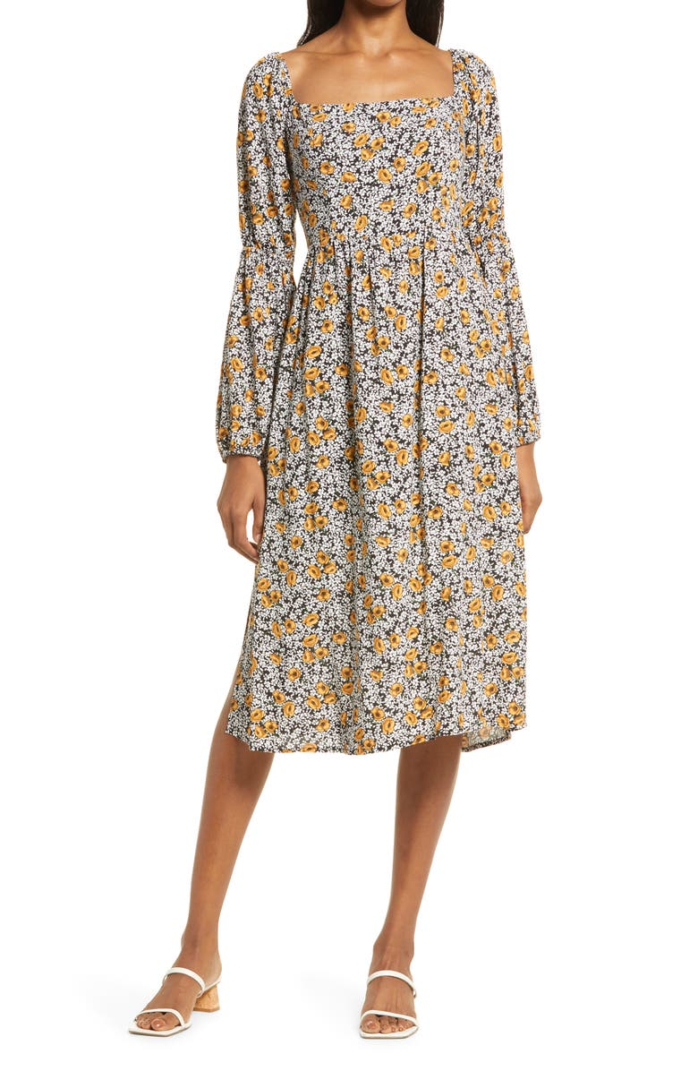 LOST + WANDER Sonny Long Sleeve Dress, Main, color, BLACK YELLOW FLORAL