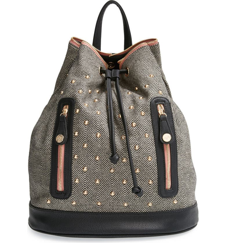 PRETTY SHIPS 'Aberdeen' Studded Backpack, Main, color, Black