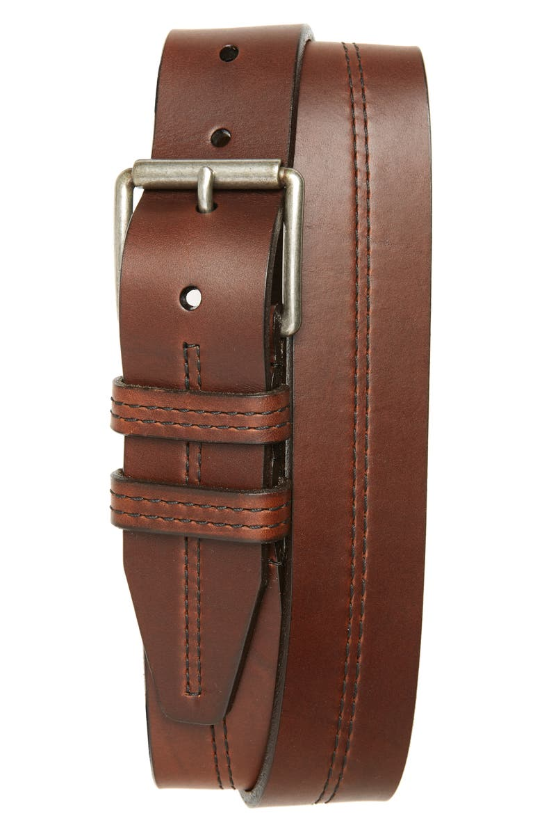 1901 Mason Center Stitch Horween<sup>®</sup> Leather Belt, Main, color, BROWN