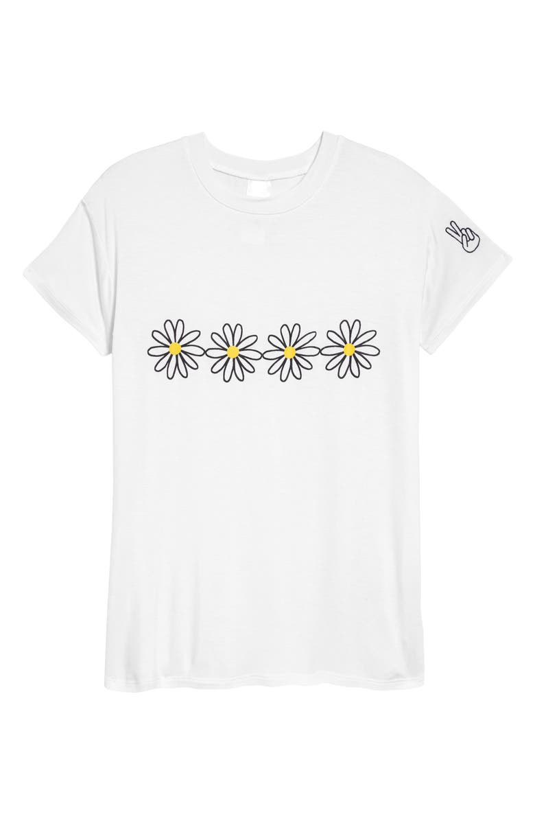 NORDSTROM Kids' Graphic Tee, Main, color, WHITE- YELLOW DAISY STRIPE