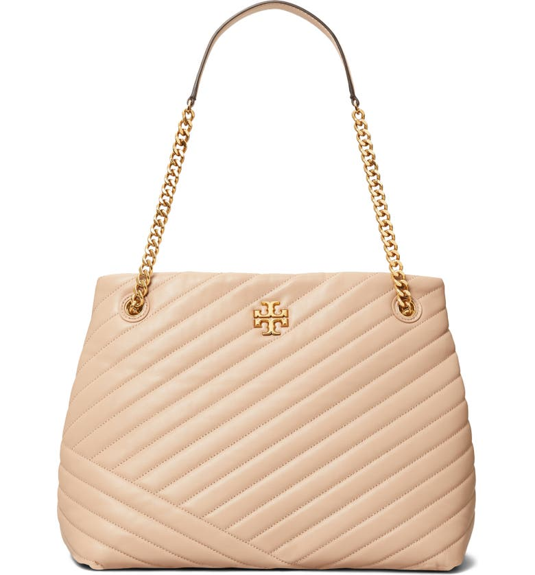 TORY BURCH Kira Chevron Quilted Leather Tote, Main, color, DEVON SAND