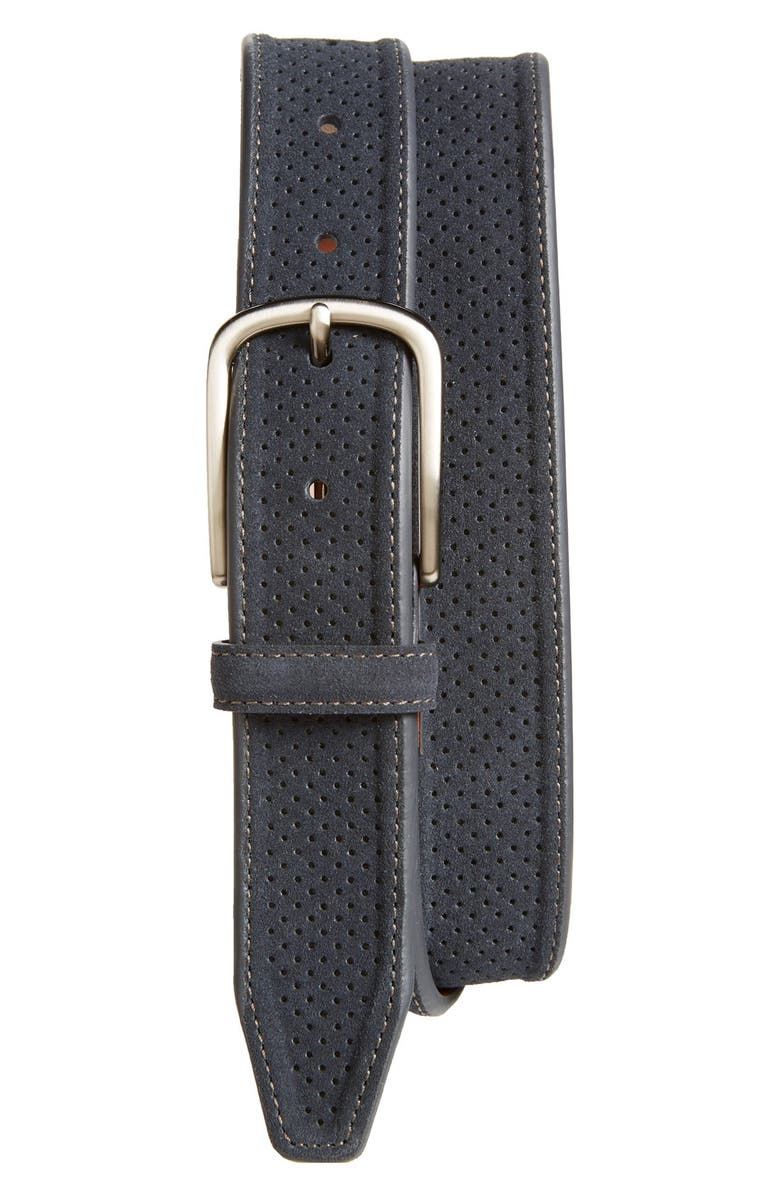 JOHNSTON & MURPHY Perforated Suede Belt, Main, color, NAVY