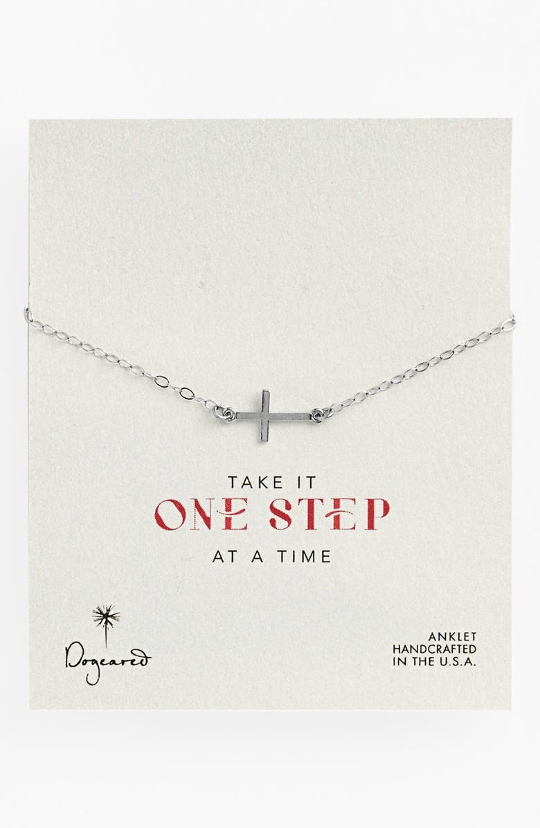 DOGEARED 'One Step at a Time' Cross Station Anklet, Main, color, 040