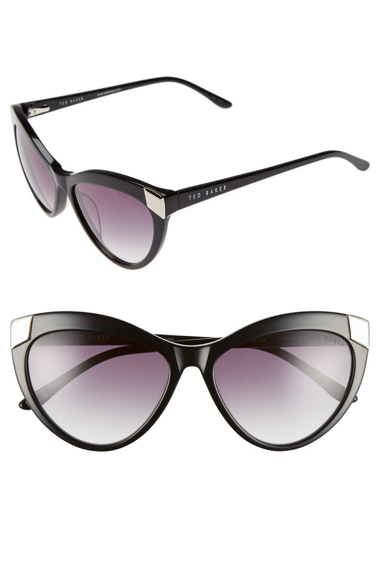 TED BAKER LONDON 57mm Cat Eye Sunglasses, Main, color, 001