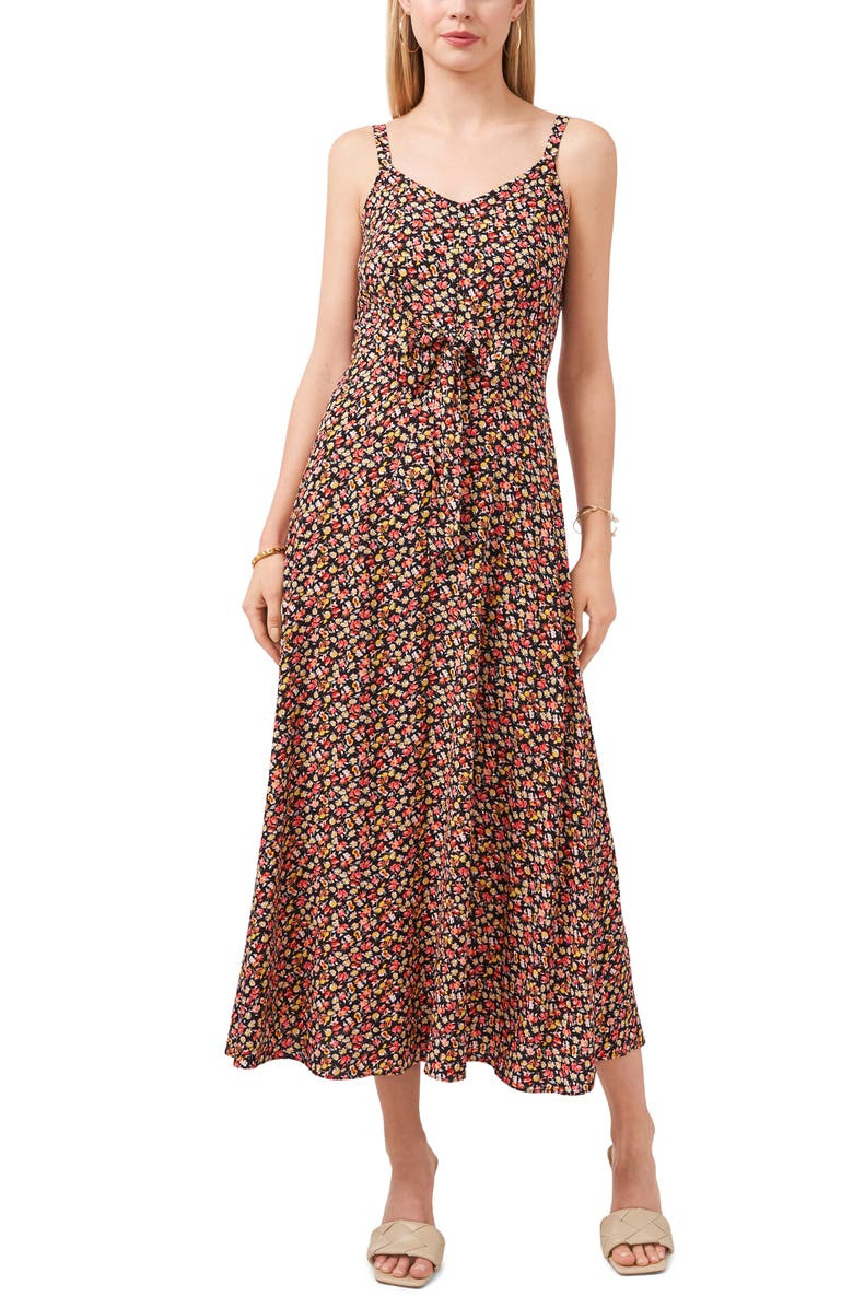 VINCE CAMUTO Floral Tie Front Sleeveless Maxi Dress, Main, color, RICH BLACK