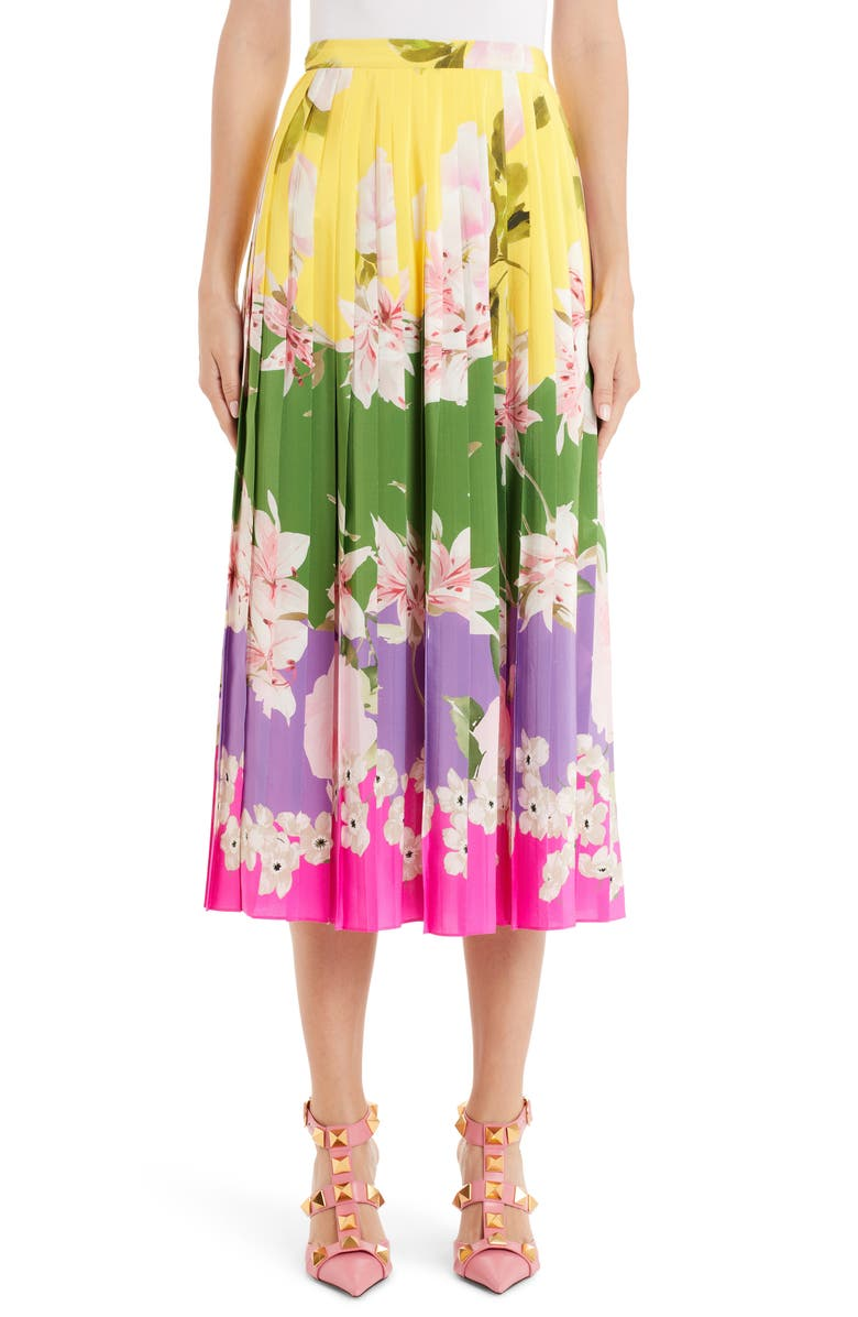 VALENTINO Floral Pleated Silk Skirt, Main, color, 500