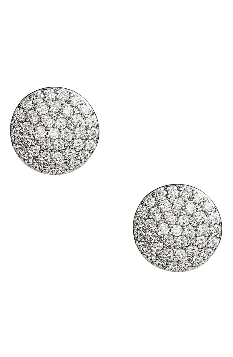 NORDSTROM Pavé Disc Stud Earrings, Main, color, CLEAR- SILVER