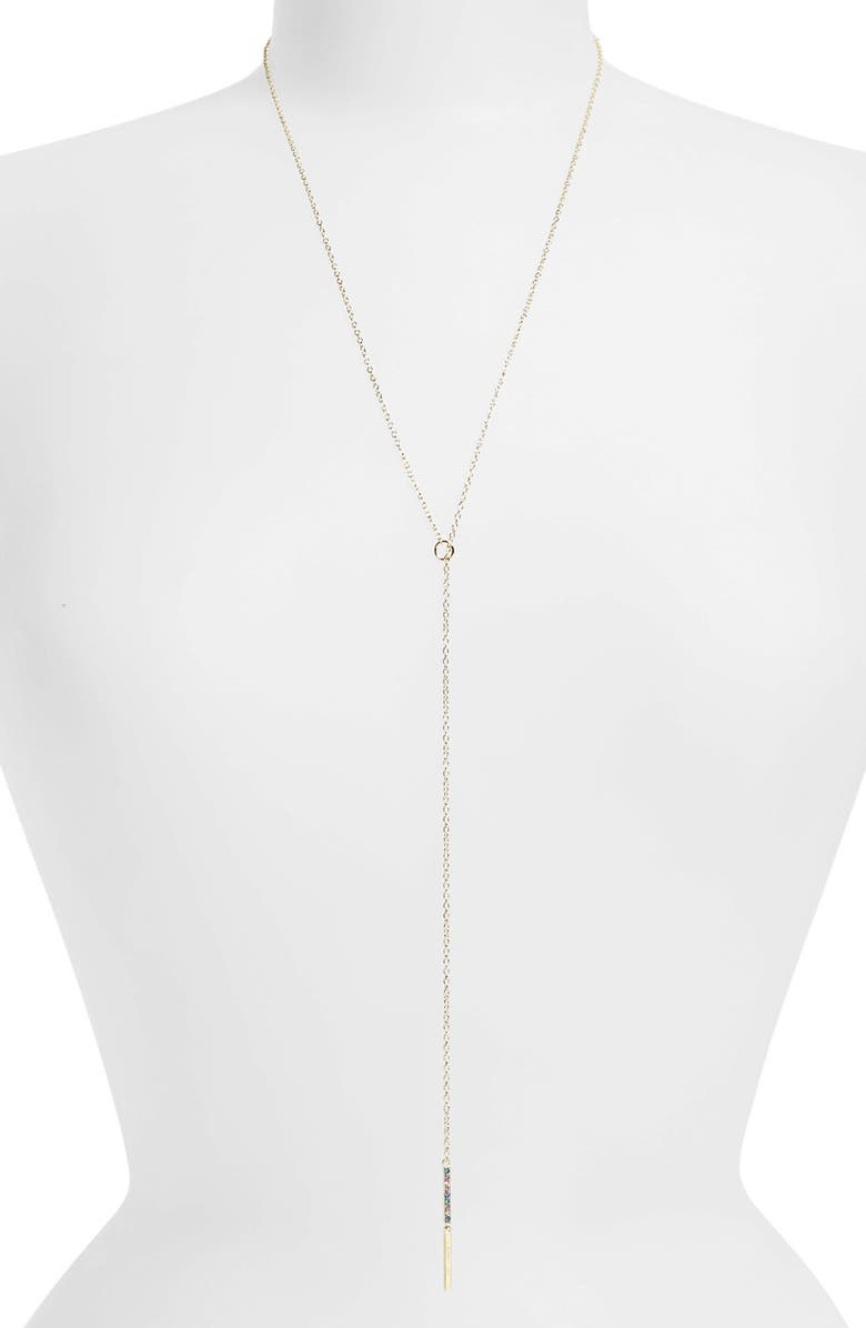 ELIZABETH AND JAMES 'Dylan' Lariat Necklace, Main, color, YELLOW GOLD/ MULTI SAPPHIRES