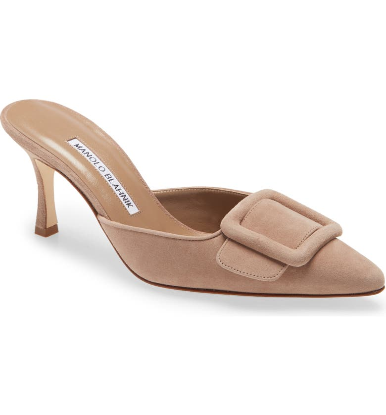 MANOLO BLAHNIK Maysale Pointed Toe Mule, Main, color, BEIGE
