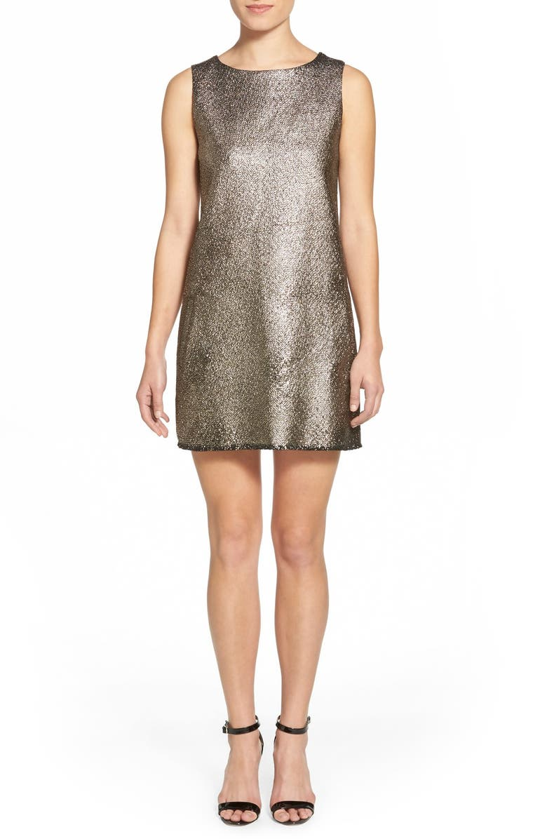 CUPCAKES AND CASHMERE 'Mollie' Metallic Shift Dress, Main, color, 714