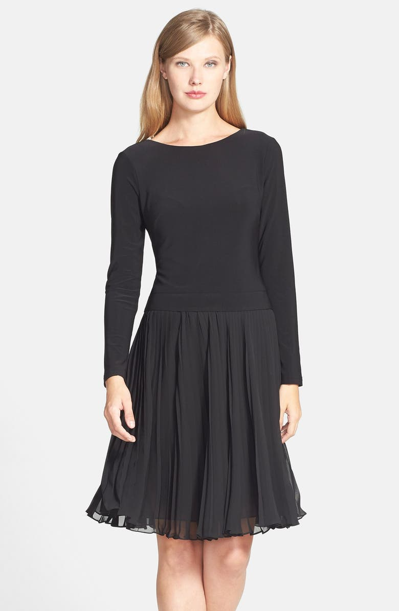 ADRIANNA PAPELL Jersey & Pleated Chiffon Fit & Flare Dress, Main, color, 001