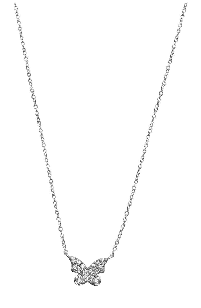 ADORNIA White Rhodium Plated Pave Crystal Butterfly Pendant Necklace, Main, color, SILVER