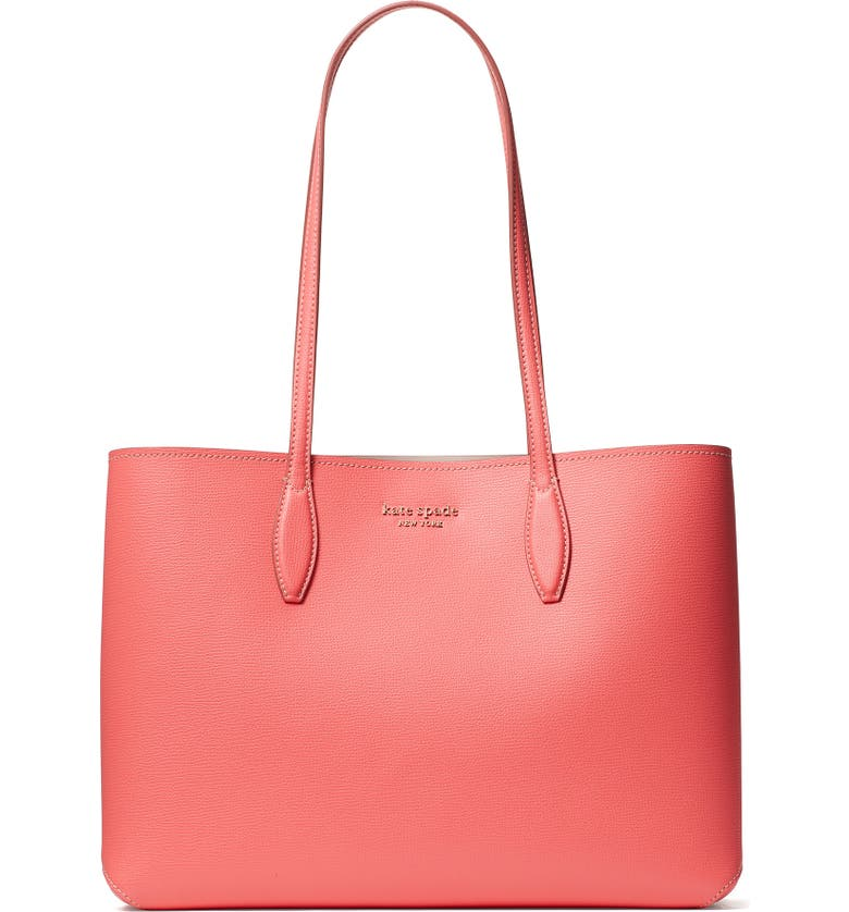 KATE SPADE NEW YORK All Day Large Leather Tote, Main, color, PEACH MELBA