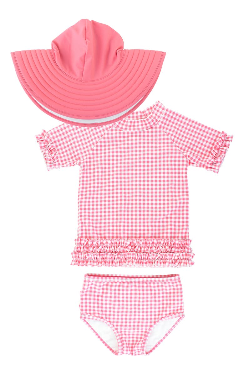 RUFFLEBUTTS Gingham Two-Piece Rashguard Swimsuit & Reversible Sun Hat Set, Main, color, PINK