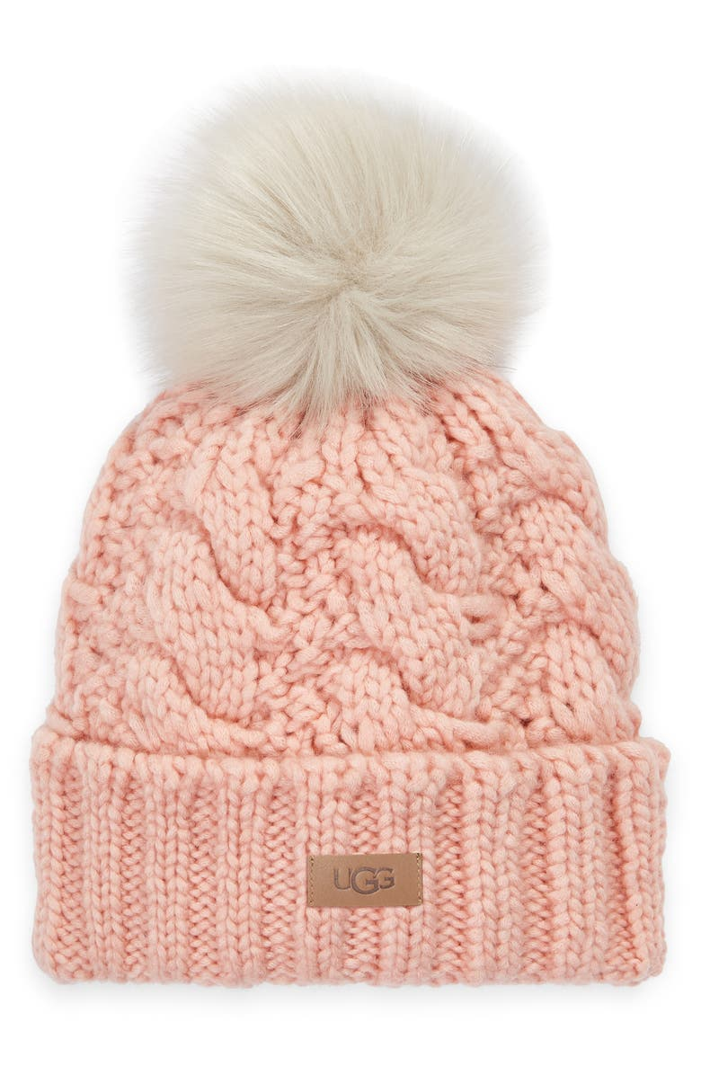 UGG<SUP>®</SUP> Cable Knit Beanie with Faux Fur Pom, Main, color, PINK CLOUD