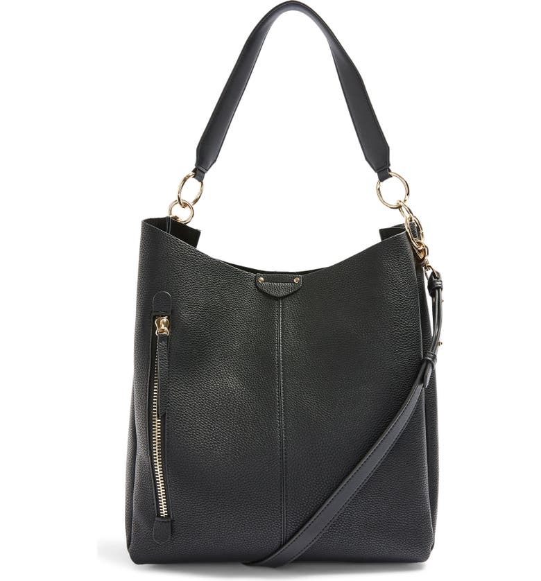 TOPSHOP Hugo Zip Faux Leather Hobo Bag, Main, color, 001