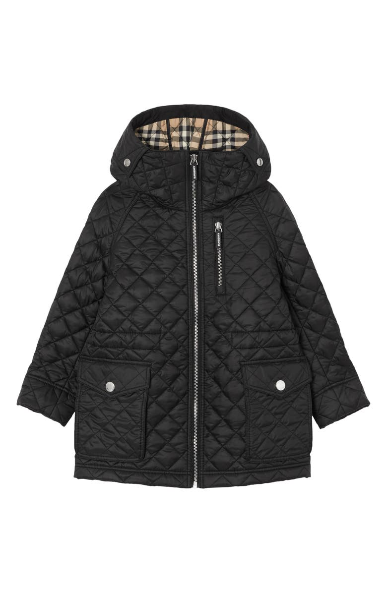 BURBERRY Trey Quilted Water Resistant Hooded Jacket, Main, color, BLACK