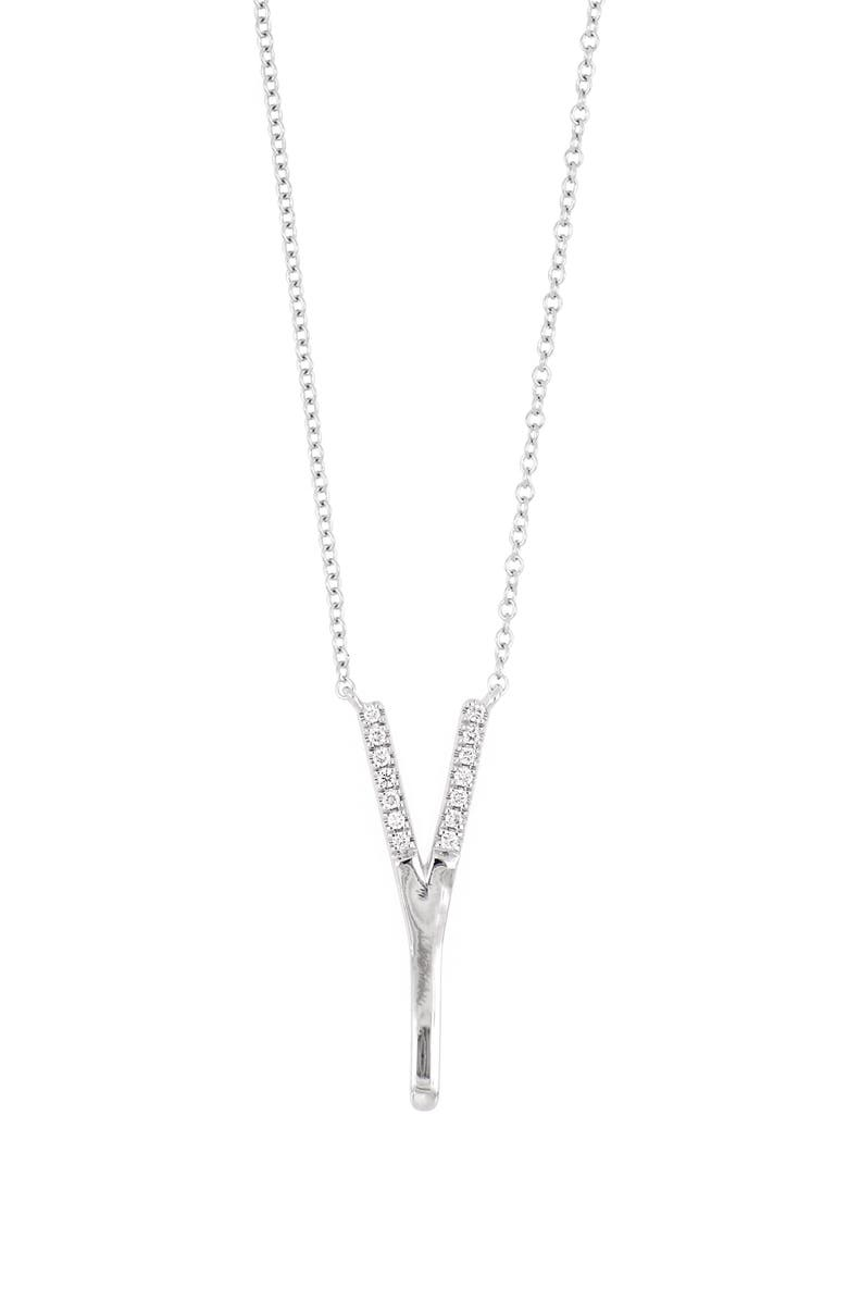 BONY LEVY Diamond Initial Pendant Necklace, Main, color, WHITE GOLD-Y