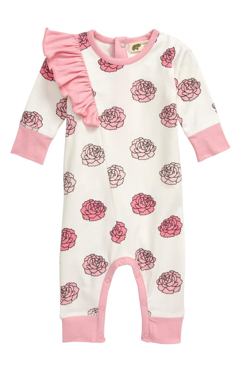 MONICA + ANDY Ruffle Flower Print Romper, Main, color, 100
