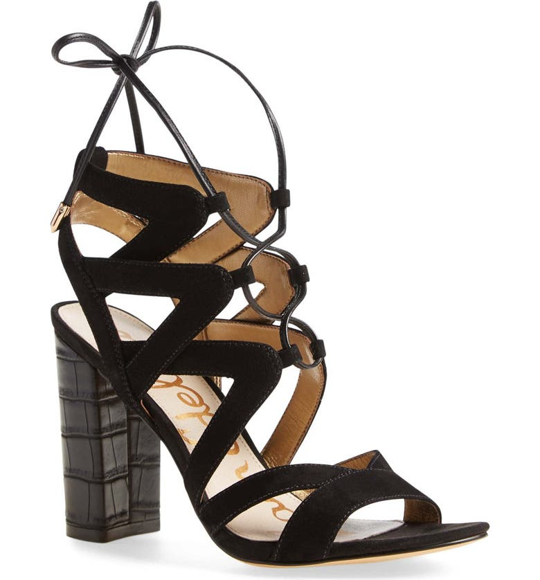 SAM EDELMAN 'Yardley' Lace-Up Sandal, Main, color, 001