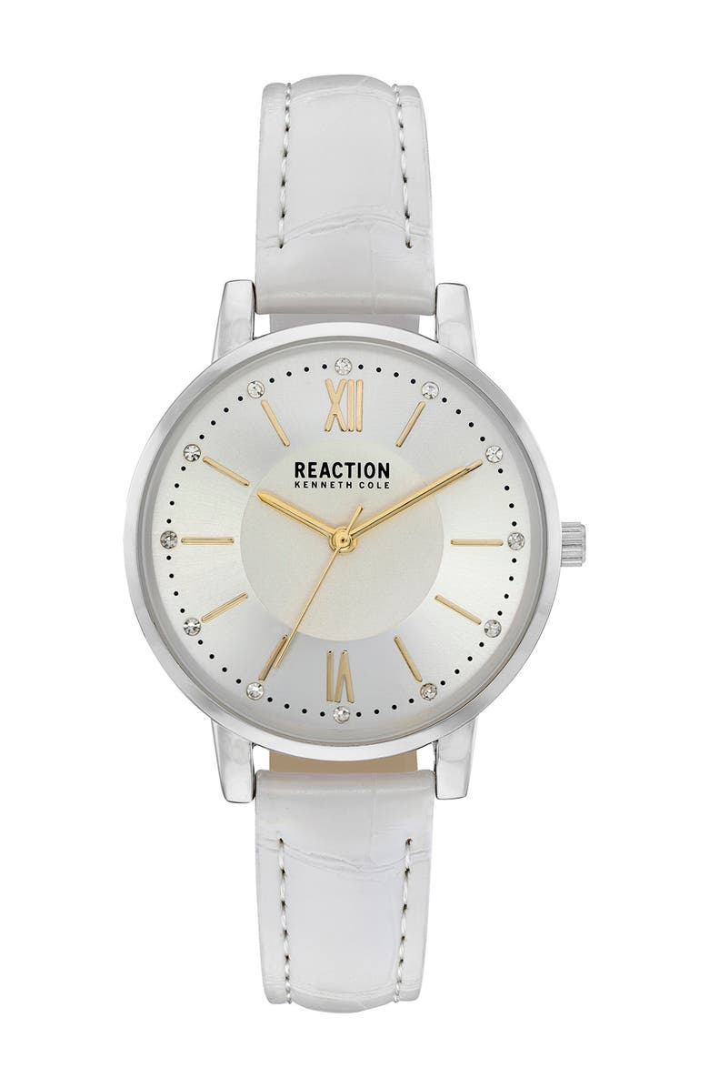 KENNETH COLE REACTION Women's Reaction Croc Embossed Strap Watch, 34mm, Main, color, WHITE