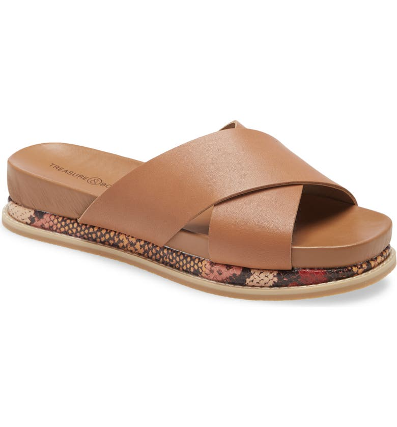 TREASURE & BOND Carter Platform Slide Sandal, Main, color, BROWN CARAMEL