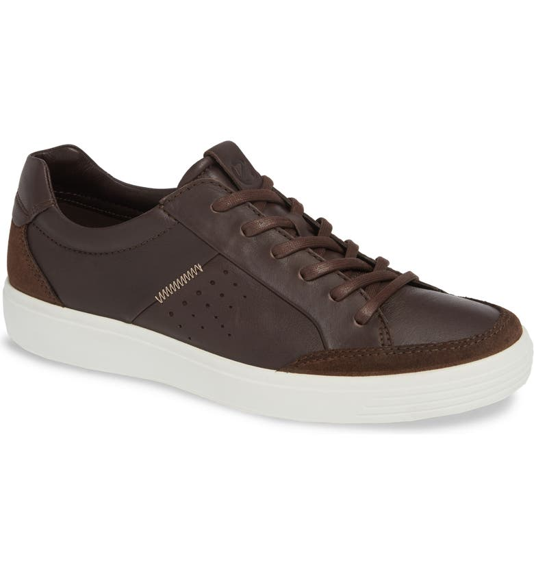 ECCO Soft 7 Lace-Up Sneaker, Main, color, COFFEE LEATHER