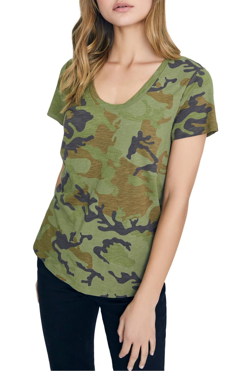 SANCTUARY Camo Print Cotton Blend Tee, Main, color, 311