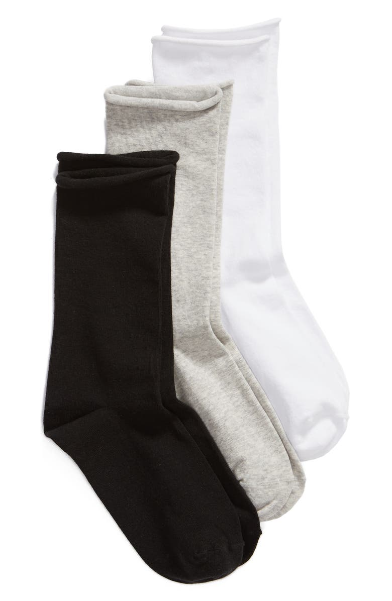 NORDSTROM Everyday Roll Top 3-Pack Crew Socks, Main, color, 051