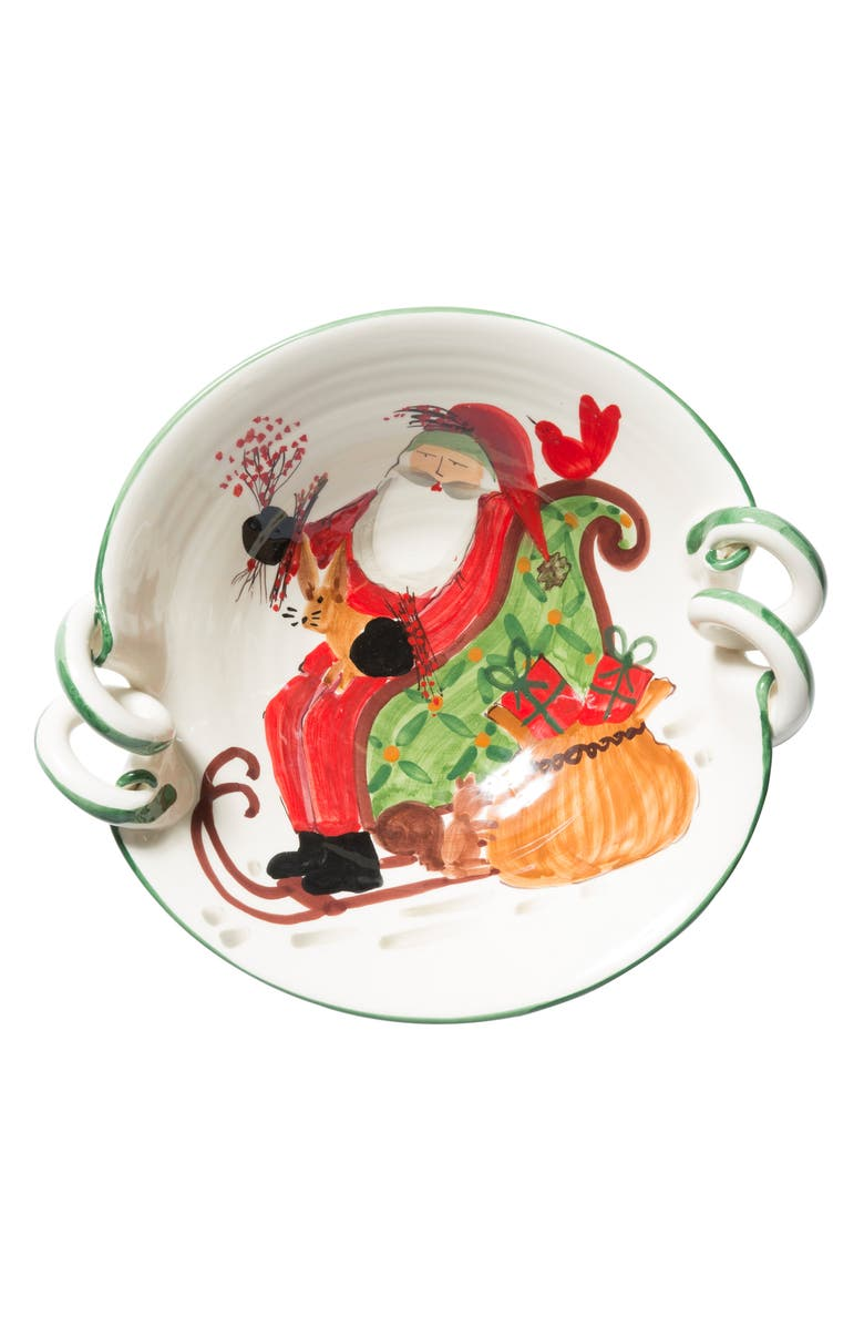 VIETRI Old St. Nick Scallop Handled Bowl, Main, color, HAND PAINTED
