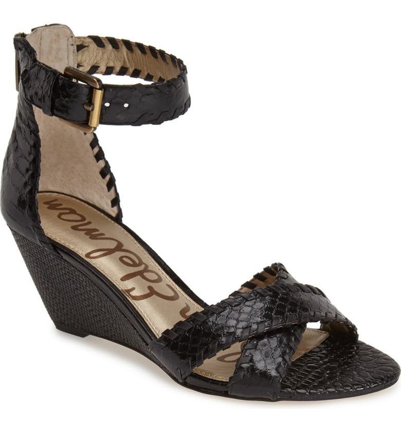 SAM EDELMAN 'Silvia' Ankle Strap Wedge Sandal, Main, color, 001