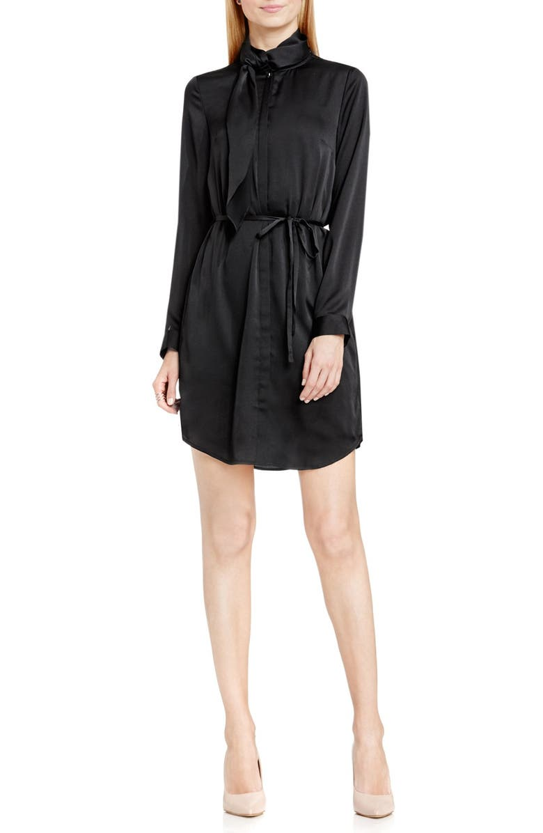 VINCE CAMUTO Tie Neck Belted Shirtdress, Main, color, 006