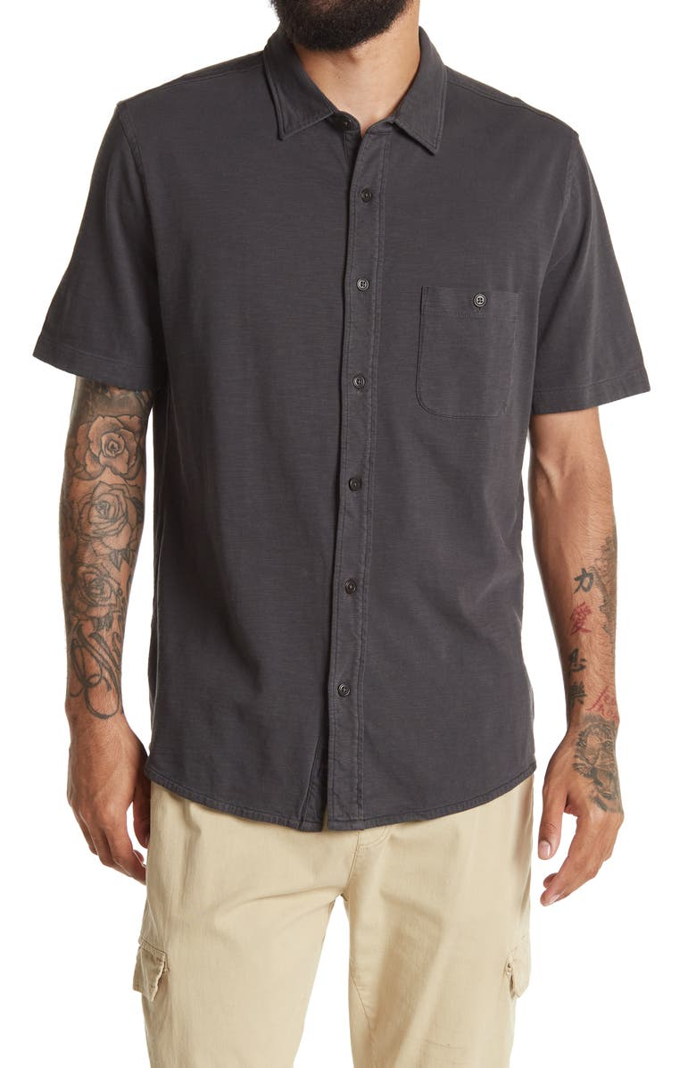 FAHERTY BRAND Seasons Knit Button-Up Shirt, Main, color, WASHED BLACK